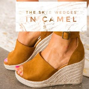 'The Skye' Faux Suede Wedge In Camel